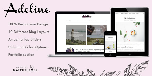 Adeline Feminine Photo Travel Blog WordPress Theme